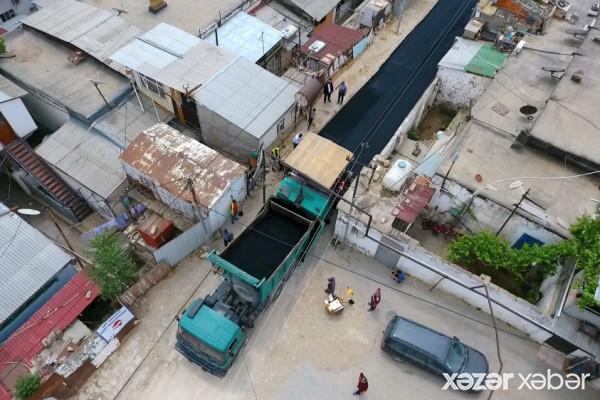 Səbail rayonunda 2 küçədə təmir işləri davam etdirilir