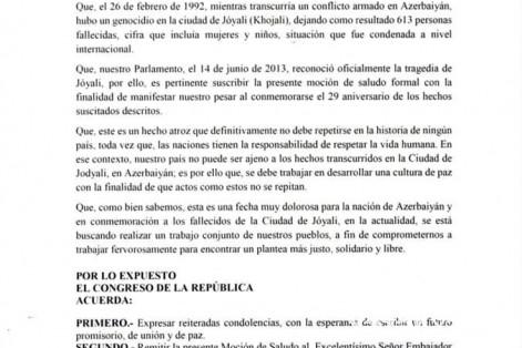 Peru Konqresində Xocalı soyqırımının 29-cu ildönümü ilə əlaqədar bəyanat qəbul edilib